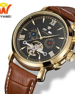 Ouyawei Mens Mechanical Tourbillon Calendar Watches Automatic Self Widing Luxury Gold Coffee Leather Waterproof Wrist Watch Men