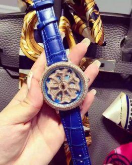 New Fashion Women Watches Famous Brand Blue Rotate Big Dial Design Luxury