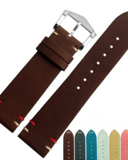 20 22mm Man Lady Cowhide Suede Leather Watch Band Strap