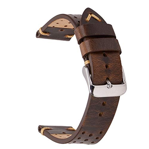Rally Racing Leather Watch Strap,EACHE Perforated 20mm Watch Bands