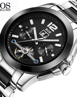 ANGELA BOS Ceramics Stainless Steel Skeleton Automatic Watch