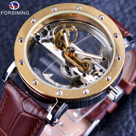 Forsining Luxury Design Transparent Case Brown Leather Strap Mens Watches