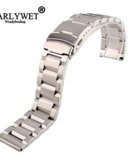 18 20 22 24mm New Man Silver Brushed Solid Stainless Steel Bracelet Watch Band