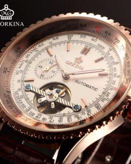 Orkina Tourbillon Mechanical Watches Mens Automatic Self Wind Transparent