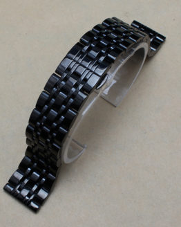 New Mens Black Solid Stainless Steel Mens Metal Watch Band Bracelet Strap