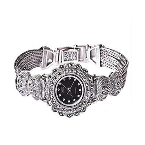 Ladies Women Sterling Silver Bracelet with Marcasite Luxury Silver Wristwatch