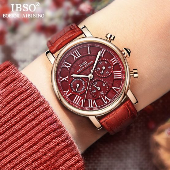 IBSO Vintage Red Leather Watches Women Luxury Brand Calendar