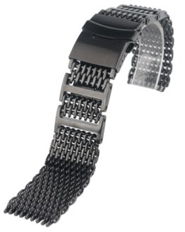 HQ 20mm 22mm 24mm Mens Stainless Steel Watch Band Shark Mesh Wrist Strap