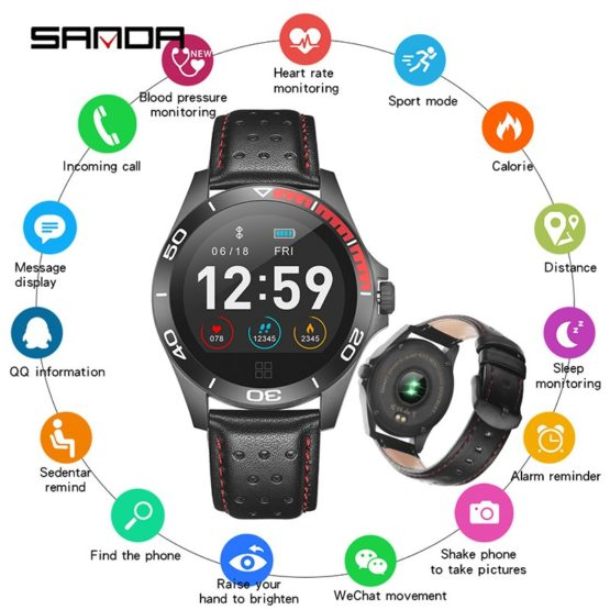 SANDA Heart Rate Monitor Smart Watch Men Sport Bluetooth Smartwatch