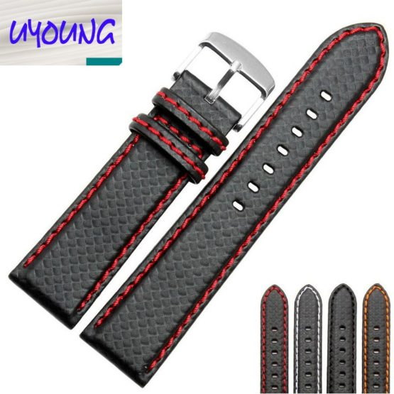 universal fit 18mm 20mm 22mm 24mm Carbon Fiber Leather Watch Band