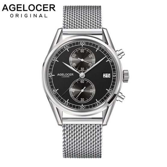Agelcoer Date Clock Male Steel Strap Chronograph Wrist Sport Watch