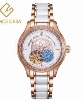PRINCE GERA Women Luxury Rose Gold Two-tone Ceramic Wrist Watch