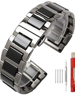 Brush Finish 22mm Watch Band Black Ceramic Silver Watch Strap Stainless Steel