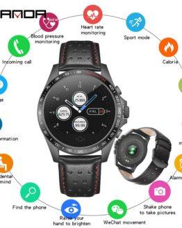 SANDA Leather Smart Watch CK23 IP67 Waterproof Heart Rate Monitor