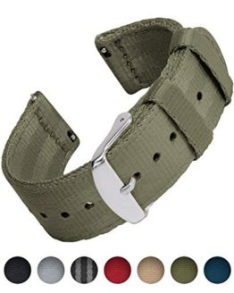 Archer Watch Straps Seat Belt Nylon Quick Release Watch Bands (Olive, 22mm)