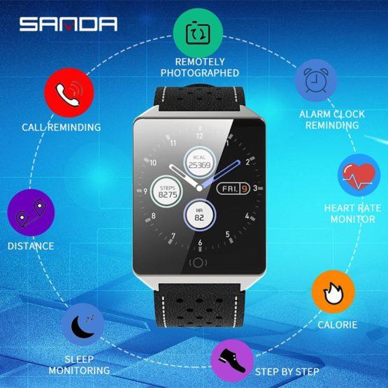 SANDA Smart watch CK19 IP67 Waterproof Tempered Glass Heart Rate Monitor