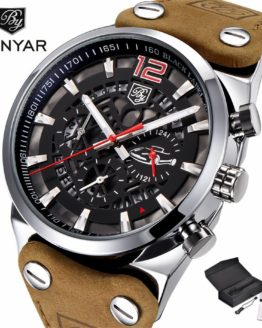 BENYAR Chronograph Wrist Watch Men Military Genuine Leather Strap