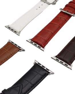 New Pink Black Red White Brown Men Women Calf Genuine Leather Watch Band