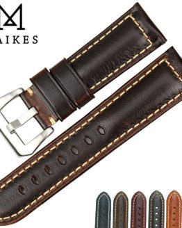 MAIKES Vintage brown watch band 20 22 24 26mm handmade Italian leather