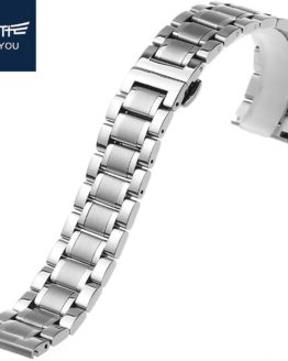 JEAYOU Men Stainless Steel Watch band Silver Watch Strap Bracelet Watchband