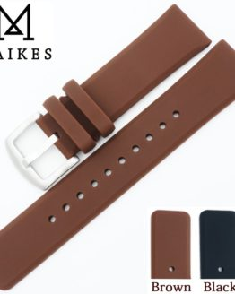MAIKES New Rubber Watch Strap Brown 22mm Silicone Watch Band