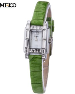TIME100 Elegance Women Quartz Watch Thin Green Leather Strap Shell Dial
