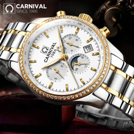 Men's Watch CARNIVAL Top Luxury Brand Male Steel Automatic Mechanical
