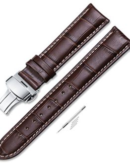 iStrap 22mm Calf Leather Stitched Replacement Watch Band