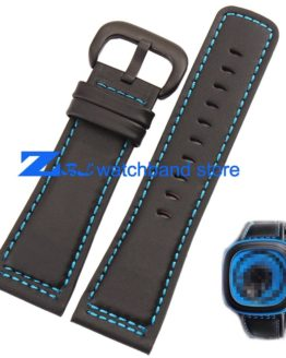 Genuine Leather Watchband Smooth Black Strap blue Stitched wristband