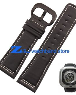 Mens Leather Bracelet Watch band High quality Smooth Black Genuine Leather