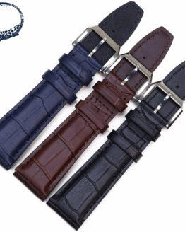 Pesno 20mm 22mm Bamboo Grain Watch Band Genuine Leather Strap
