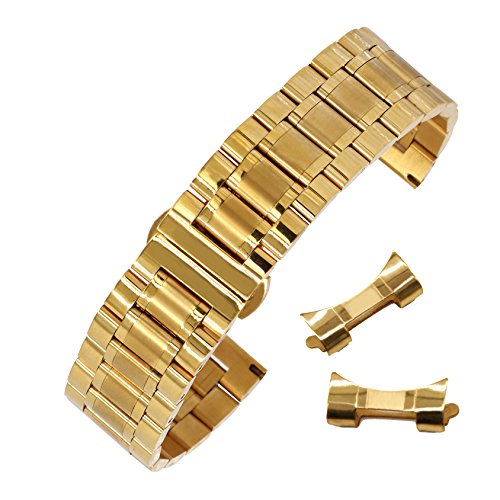 16mm Anti-Allergy Inox Steel Watch Band in Gold Solid Link Metal Watch