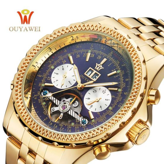 OUYAWEI Men Mechanical Watches Luxury Brand Automatic Gold