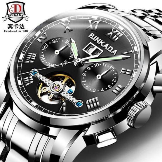 Hot BINKADA Luxury Brand Sports Men's Automatic Skeleton Mechanical Watch