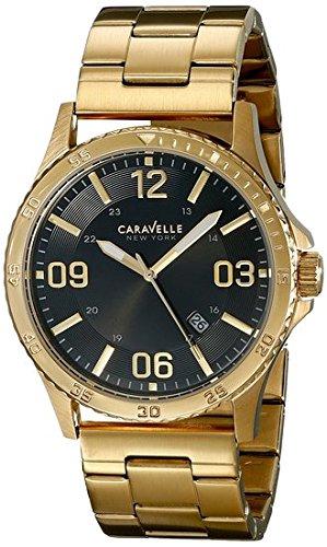 Caravelle New York Men's Analog Display Japanese Quartz Yellow Gold Watch