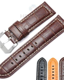 HENGRC Watchbands 24mm Brown Black Genuine Leather Women Wen Watch