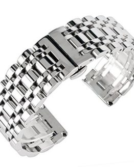 20mm 22mm 24mm Solid Stainless Steel Watch Band Silver