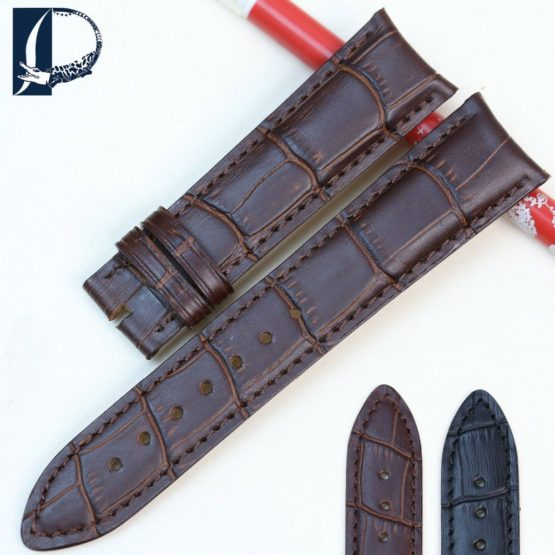 Pesno New Watchbands 20mm Crocodile Alligator Grain Genuine Leather