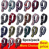 3911637e5 NATO Strap 6 Packs 18mm Watch Band Nylon Replacement Watch Straps ...