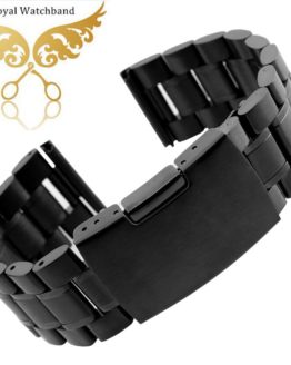 14mm 16mm 18mm 20mm 22mm 24mm 26mm Mens Black Metal Watch Band