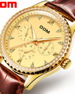 DOM Brand Gold Wrist Watch Men Luxury Famous Male