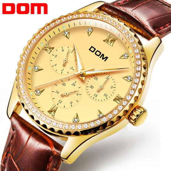 DOM Brand Gold Wrist Watch Men Luxury Famous Male