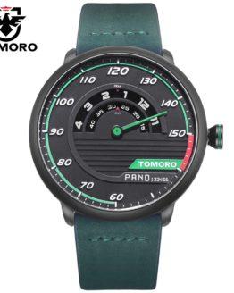 TOMORO Men's Unique Racing Car 3D Design Cow Leather Strap Luxury Watch