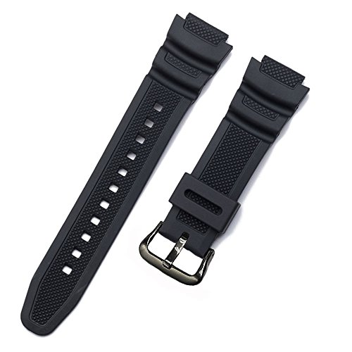 Replacement Watch Band 18mm Black Resin Strap for Casio