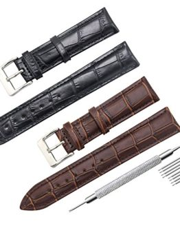 CIVO 2 Packs Genuine Leather Watch Bands Top Calf Grain Leather Watch Strap