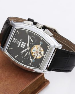 GOER Tourbillon Mechanical Watches PU Leather Strap Automatic Mechanical