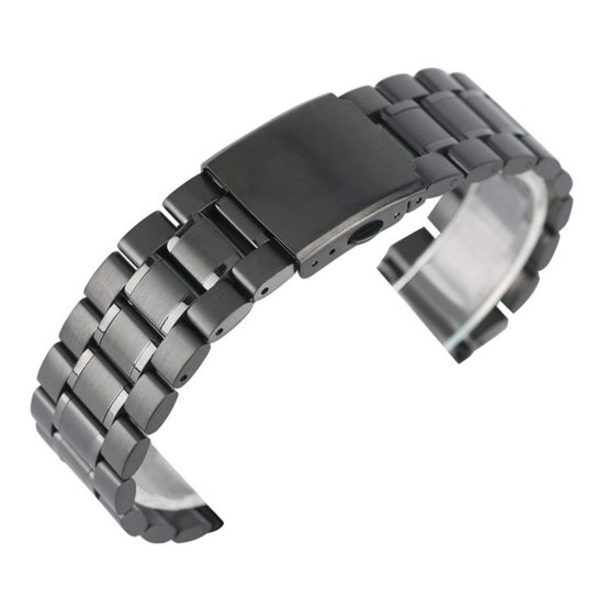 22mm Black Silver Stainless Steel Watch Band Strap Wristband Adjustable
