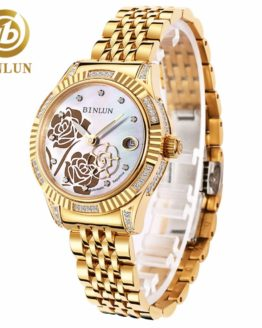 BINLUN Women's 18K Gold Automatic Mechanical Watch Diamond Waterproof