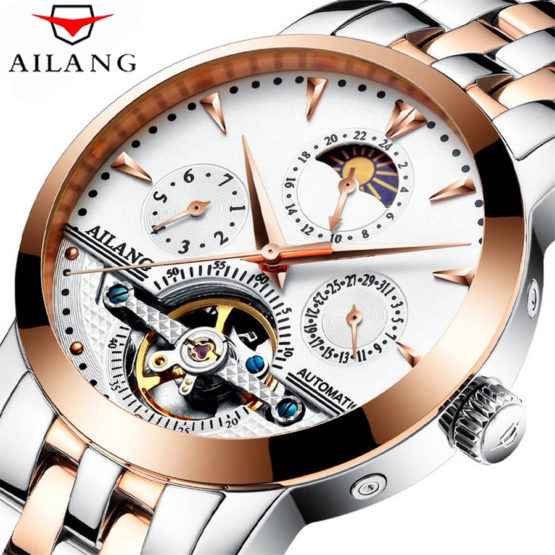 AILANG Automatic Tourbillon Men Mechanical Watch Sport Clock