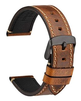 WOCCI Watch Band 20mm, Premium Saddle Style Vintage Leather Watch Strap